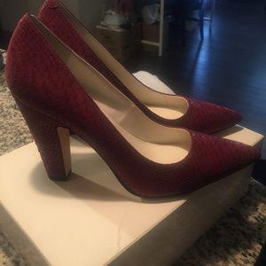 Anne Klein Wine Suede High Heels Size 8.5 Brand Ne